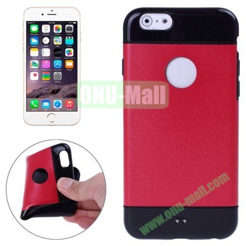 Mix Color Style Black Shell TPU Case for iPhone 6 4.7 inch with Apple Logo Hole (Red)