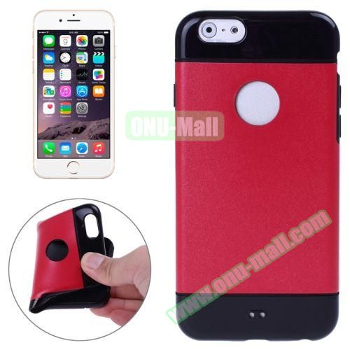 Mix Color Style Black Shell TPU Case for iPhone 6 Plus with Apple Logo Hole (Red)