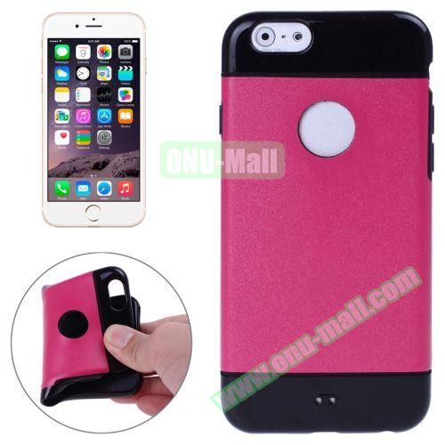 Mix Color Style Black Shell TPU Case for iPhone 6 Plus with Apple Logo Hole (Rose)