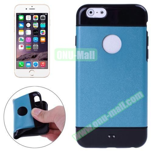 Mix Color Style Black Shell TPU Case for iPhone 6 Plus with Apple Logo Hole (Blue)