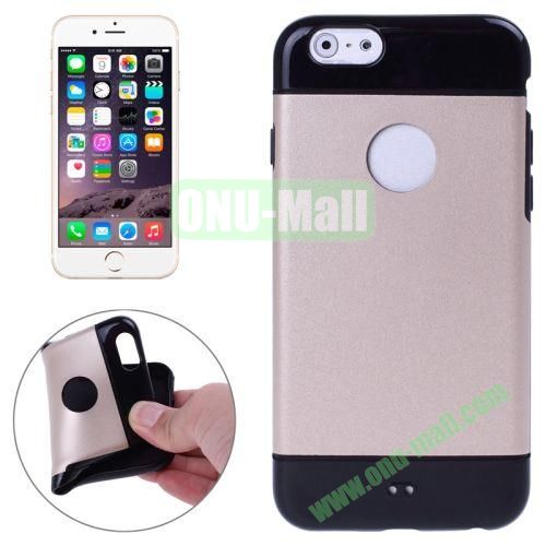 Mix Color Style Black Shell TPU Case for iPhone 6 4.7 inch with Apple Logo Hole (Gold)