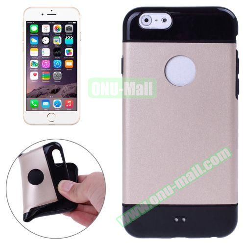 Mix Color Style Black Shell TPU Case for iPhone 6 Plus with Apple Logo Hole (Gold)