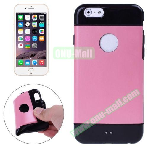 Mix Color Style Black Shell TPU Case for iPhone 6 Plus with Apple Logo Hole (Pink)