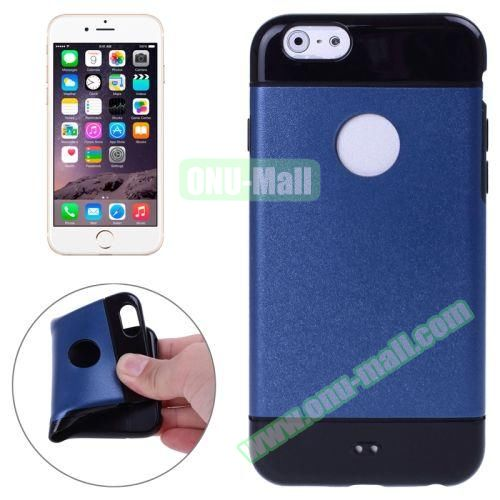 Mix Color Style Black Shell TPU Case for iPhone 6 Plus with Apple Logo Hole (Dark Blue)