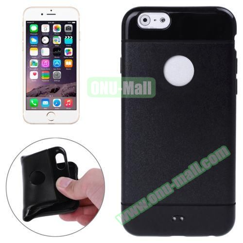 Mix Color Style Black Shell TPU Case for iPhone 6 Plus with Apple Logo Hole (Black)