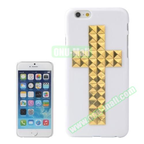 Pure Color Cross Pattern Diamond Rivet Style Hard Plastic Case for iPhone 6 Plus (Gold)