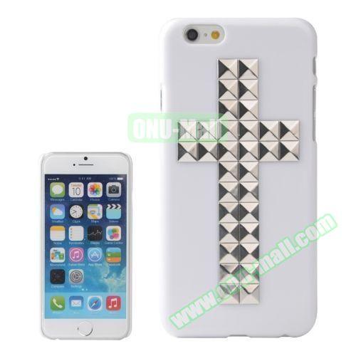 Pure Color Cross Pattern Diamond Rivet Style Hard Plastic Case for iPhone 6 Plus (Silver)