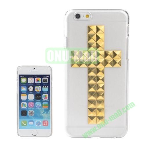 Transparent Cross Pattern Diamond Rivet Style Hard Plastic Case for iPhone 6 4.7 inch (Gold)