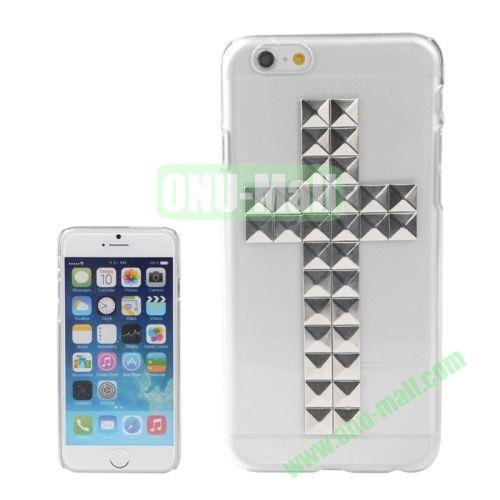 Transparent Cross Pattern Diamond Rivet Style Hard Plastic Case for iPhone 6 4.7 inch (Silver)