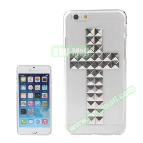 Transparent Cross Pattern Diamond Rivet Style Hard Plastic Case for iPhone 6 Plus (Silver)