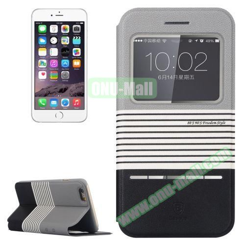 Baseus Dual Color Pattern Leather Case for iPhone 6 Plus with Caller ID Display Window (Grey+Black)