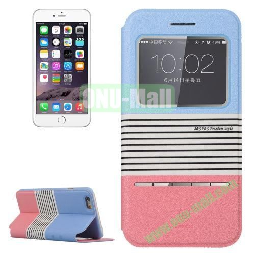 Baseus Dual Color Pattern Leather Case for iPhone 6 4.7 Inch with Caller ID Display Window (Light Blue+Pink)