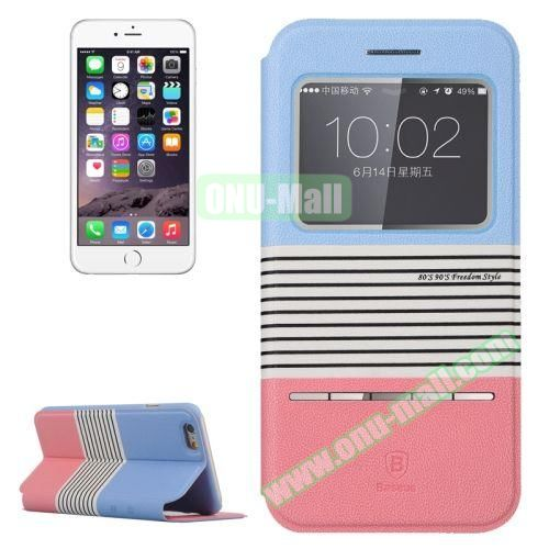 Baseus Dual Color Pattern Leather Case for iPhone 6 Plus with Caller ID Display Window (Light Blue+Pink)