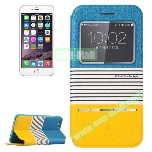 Baseus Dual Color Pattern Leather Case for iPhone 6 Plus with Caller ID Display Window (Sky Blue+Yellow)