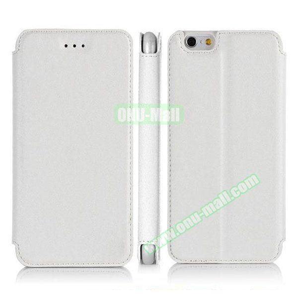 Pure Color Flip Leather Case for iPhone 6 Plus with Stand (White)