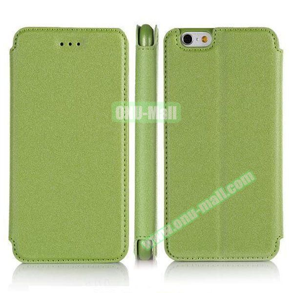 Pure Color Flip Leather Case for iPhone 6 Plus with Stand (Green)