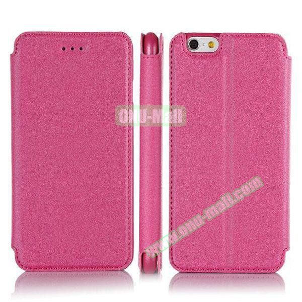 Pure Color Flip Leather Case for iPhone 6 Plus with Stand (Rose)