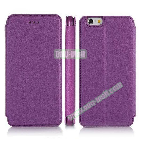 Pure Color Flip Leather Case for iPhone 6 Plus with Stand (Purple)