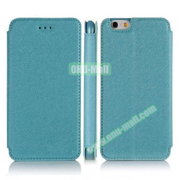 Pure Color Flip Leather Case for iPhone 6 Plus with Stand (Blue)