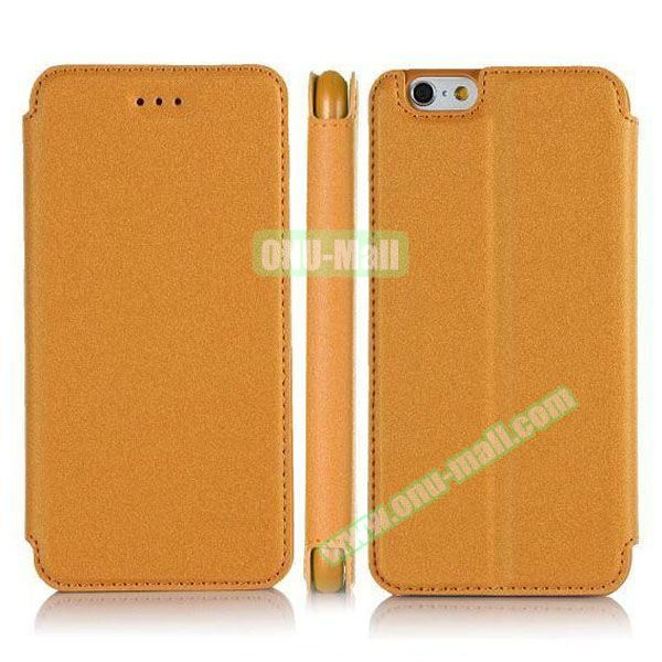 Pure Color Flip Leather Case for iPhone 6 Plus with Stand (Yellow)