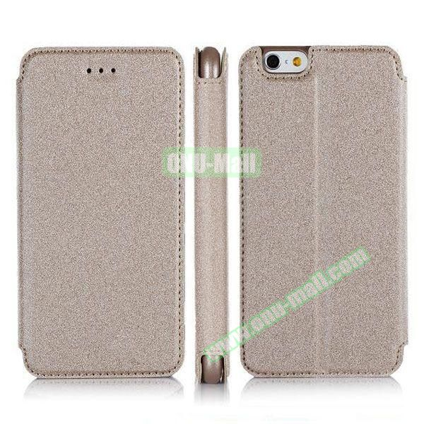 Pure Color Flip Leather Case for iPhone 6 Plus with Stand (Gray)