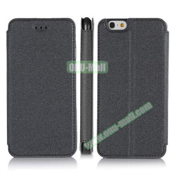 Pure Color Flip Leather Case for iPhone 6 4.7 inch with Stand (Black)