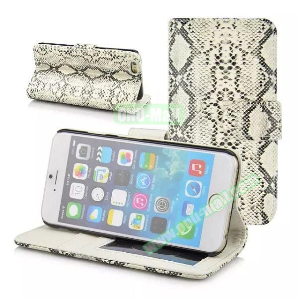 Snake Skin Pattern Flip Leather Case for iPhone 6 Plus with Photo Slot (White)