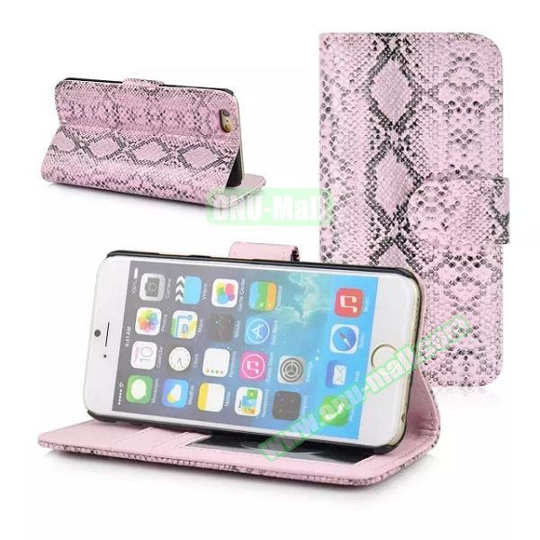 Snake Skin Pattern Flip Leather Case for iPhone 6 with Photo Slot (Pink)