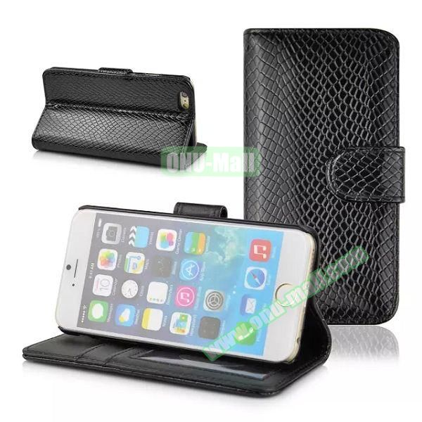 Snake Skin Pattern Flip Leather Case for iPhone 6 with Photo Slot (Black)