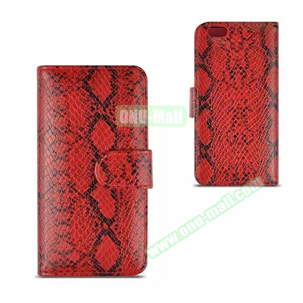 Snake Skin Pattern Flip Leather Case for iPhone 6 Plus with Photo Slot (Red)
