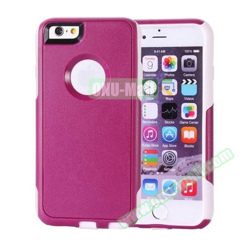 Hybrid PC + TPU Combination Protective Case for iPhone 6 Plus (Rose+White)