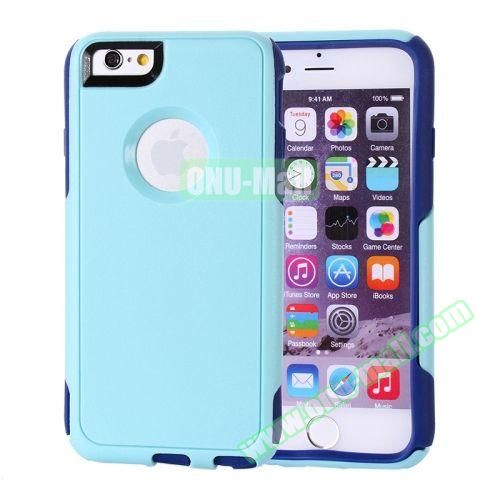 Hybrid PC + TPU Combination Protective Case for iPhone 6 Plus (Light Green+Dark Blue)