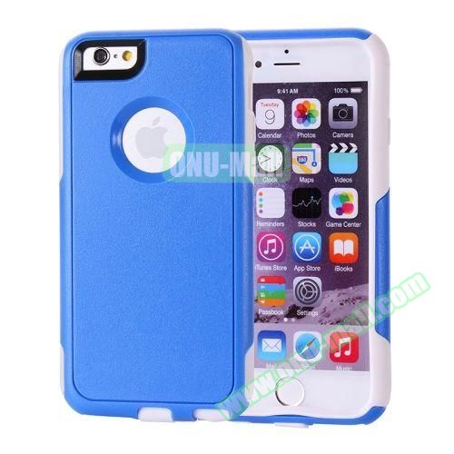 Hybrid PC + TPU Combination Protective Case for iPhone 6 Plus (Blue+White)