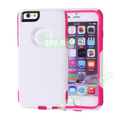 Hybrid PC + TPU Combination Protective Case for iPhone 6 Plus (White+Red)
