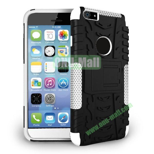 2014 New Arrival High Quality Double Color Detachable Kickstand Hard Case for iPhone 6 Plus 5.5 inch (White+Black)