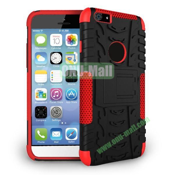 2014 New Arrival High Quality Double Color Detachable Kickstand Hard Case for iPhone 6 Plus 5.5 inch (Red+Black)