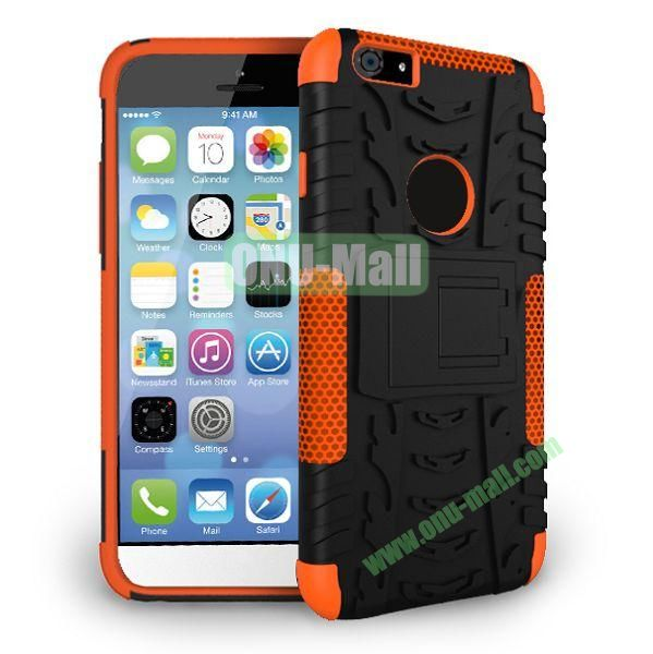2014 New Arrival High Quality Double Color Detachable Kickstand Hard Case for iPhone 6 Plus 5.5 inch (Orange+Black)