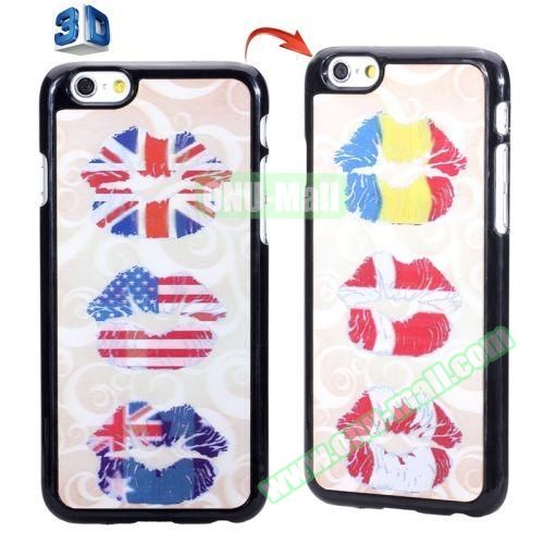3D Printed Effect Personalized Design Hard PC Case for iPhone 6 4.7 inch (Flag Lips)