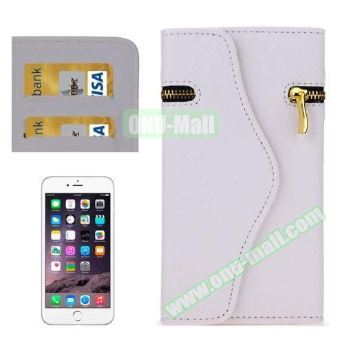 Pure Color Cross Texture Leather Case for iPhone 6 Plus with Zipper, Hand Strap and Card Slots (White)