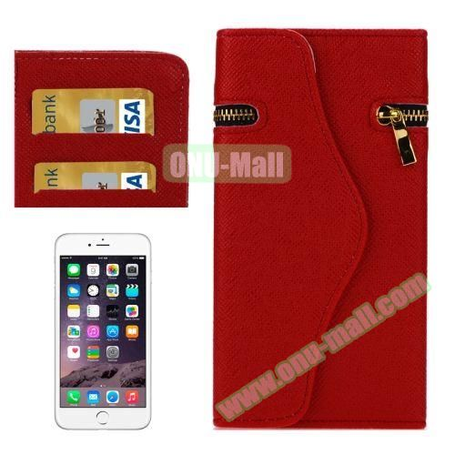 Pure Color Cross Texture Leather Case for iPhone 6 Plus with Zipper, Hand Strap and Card Slots (Red)