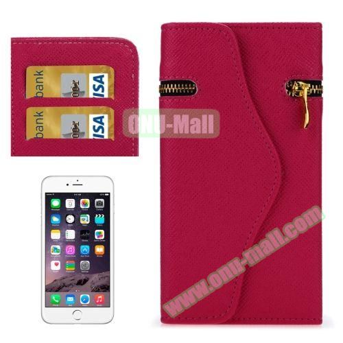 Pure Color Cross Texture Leather Case for iPhone 6 Plus with Zipper, Hand Strap and Card Slots (Rose)