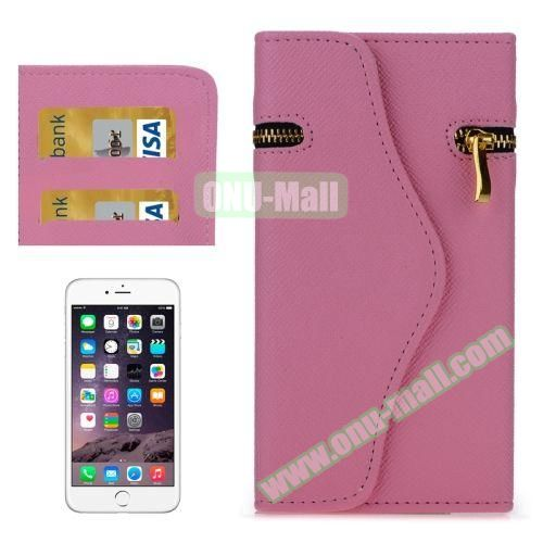 Pure Color Cross Texture Leather Case for iPhone 6 Plus with Zipper, Hand Strap and Card Slots (Pink)