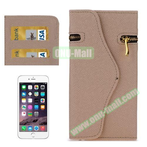 Pure Color Cross Texture Leather Case for iPhone 6 Plus with Zipper, Hand Strap and Card Slots (Beige)