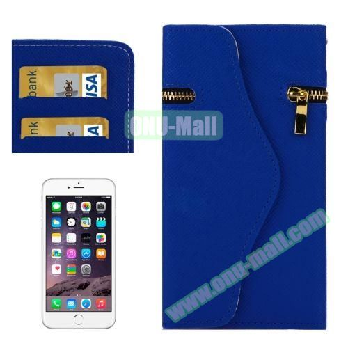 Pure Color Cross Texture Leather Case for iPhone 6 4.7 inch with Zipper, Hand Strap and Card Slots (Blue)
