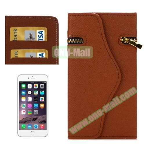 Pure Color Cross Texture Leather Case for iPhone 6 Plus with Zipper, Hand Strap and Card Slots (Brown)