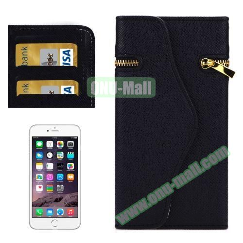 Pure Color Cross Texture Leather Case for iPhone 6 Plus with Zipper, Hand Strap and Card Slots (Black)
