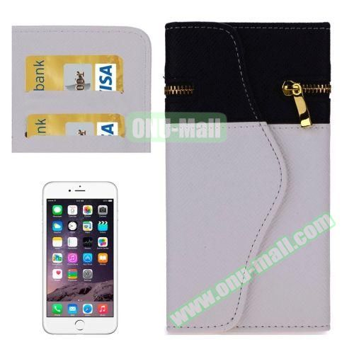Mix Color Wallet Pattern Cross Texture Leather Case for iPhone 6 4.7 inch with Zipper, Hand Strap and Card Slots (White)