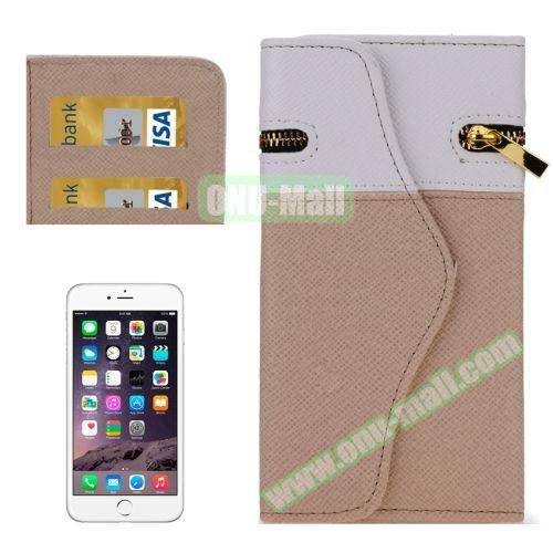 Mix Color Wallet Pattern Cross Texture Leather Case for iPhone 6 4.7 inch with Zipper, Hand Strap and Card Slots (Light Brown)