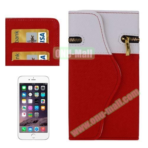 Mix Color Wallet Pattern Cross Texture Leather Case for iPhone 6 4.7 inch with Zipper, Hand Strap and Card Slots (Red)
