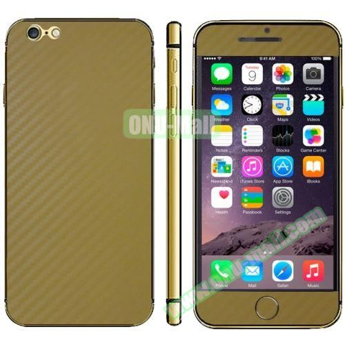 Carbon Fiber Texture Mobile Phone Decal Stickers for iPhone 6 Plus (Gold)